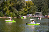 People riding on catamarans — Foto Stock