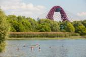 People swimming in Moskva river — Stock Photo