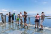 Tourists visiting  the cliffs of Gabo Girao at Madeira Island — Stock Photo