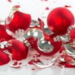 Broken Christmas balls over a white background — Stock Photo #59659291
