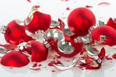 Broken Christmas balls over a white background — Stock Photo