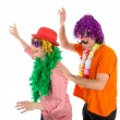 Man and Woman dressed in carnival costumes dancing a polonaise — Stock Photo #63517705
