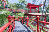 Tropical Garden with red Japanese style pavilions in Funchal, Madeira — Stock Photo