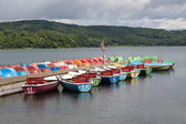 Rowboats for rental in a German lake — Stock Photo