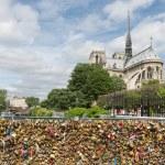 Love padlocks at bridge over river Seine in Paris, France — Stock Photo #74146331