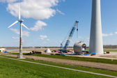 Farmland with construction work at the biggest windfarm of the Netherlands — Stock Photo