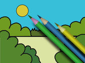 Child's picture and varicoloured pencils — Stock Photo