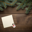Christmas decoration. Blank scroll for text between fir twigs on dark — Stock Photo #57674857
