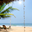 Untouched tropical beach with palms and fishing boats in Sri-Lanka — Stock Photo #59558763
