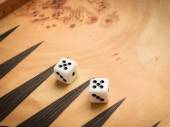 Color detail of a Backgammon game with two dice — Stock Photo