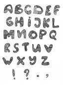 Vector set with hand written letters on white background. — Foto Stock