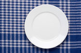White classic plate on blue checkered tablecloth. — 图库照片