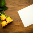 Card for congratulation with yellow rose in vintage style — Stock Photo #68863435