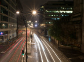 Night street in London with light trails — Stock Photo