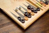 Backgammon set s kostkami — Stock fotografie
