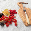 Tasty summer fruits on a wooden table. raspberries, mulberry, currant — Stock Photo #77044277