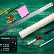 Tools and papers with sketches on the table — Stock Photo #78467148