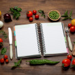 Fresh Organic Vegetables and Spices on a Wooden Background and Paper for Notes. Open Notebook. Diet. Dieting — Stock Photo #80150108