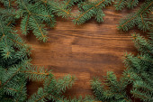 Fir tree on wooden board background with copy space — Stock Photo