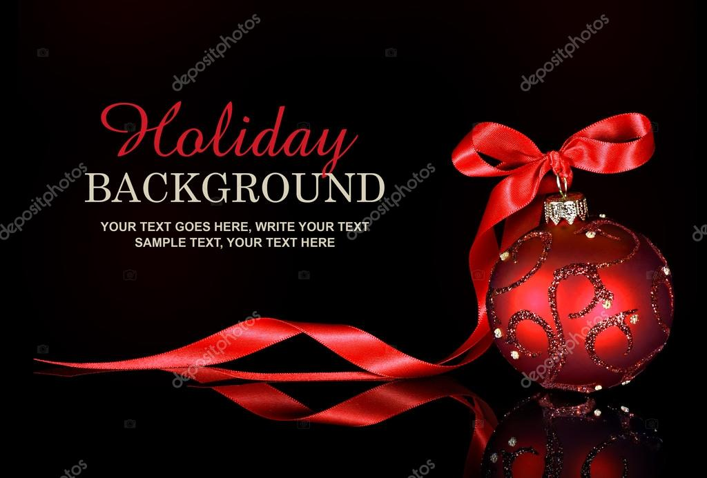 christmas background with a red ornament and ribbon on a