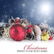 Christmas background with red ornament and garland — Stock Photo #56618753