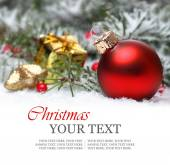 Christmas or holiday border background with red ornament — Stock Photo