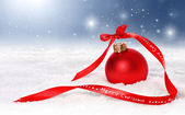 Christmas or holiday background with red ornament — Zdjęcie stockowe