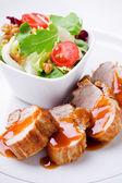 Pork Filet With Salad — Stock Photo
