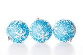 üç blue noel topları — Stok fotoğraf