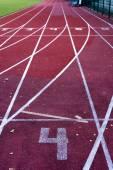 Athletics stadium running track, selective focus — Zdjęcie stockowe