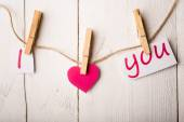Valentines day card with hearts and words of love on old wood ba — Stock Photo