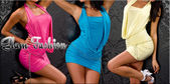 Glam Fashion Banner Mini Dress pink blue yellow — Stock Photo