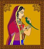 Portret królowej Indian lub księżniczka — Wektor stockowy
