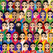 Crowd of Indian Women avatar — Stock Vector