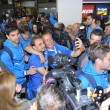 Football players from Real Oviedo on arrival at Asturias Airport — Stock Photo #74132801