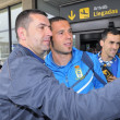 Football players from Real Oviedo on arrival at Asturias Airport — Stock Photo #74133089