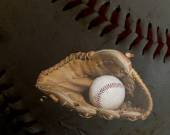 Baseball Glove and Ball with Ball Background — Stock Photo