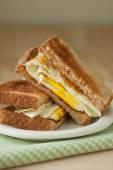 Fried Egg Sandwich on Whole Grain Toast — Stock Photo