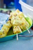 Freshly Grilled Pineapple Kebabs — Stock Photo
