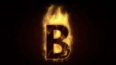 Fiery letter B burning — Stockvideo