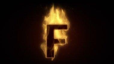 Fiery letter F burning — Stock Video
