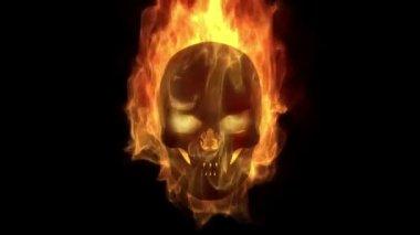 Burning skull head — Stock Video