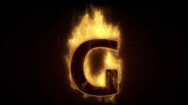 Fiery letter G burning — Stock Video