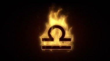 LIBRA horoscope sign burning — Stock Video
