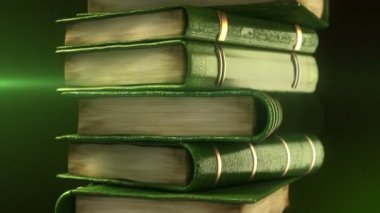 Green books stack with diploma — Stock Video