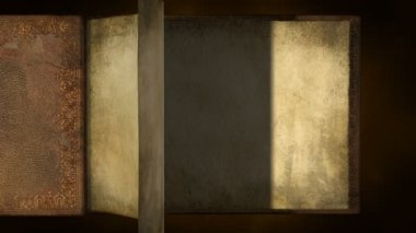 Antiguo libro con páginas en blanco de torneado — Vídeo de Stock