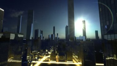 Sun over skyscrapers — Stock Video