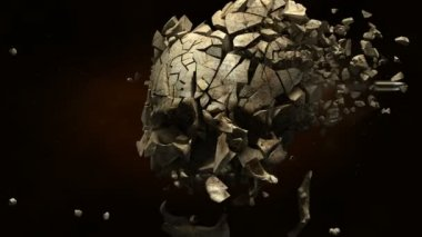 Skull exploded in pieces — Stock Video
