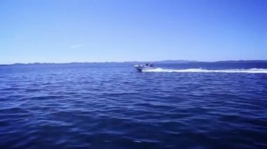 Fast boat steady waves — Stock Video