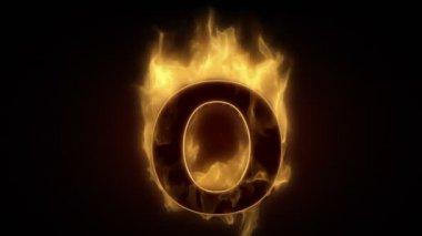 Fiery letter o burning — 图库视频影像
